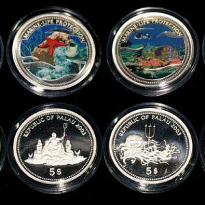 Lot von 4 Palau Farbmünzen 5 Dollars Silber 2003 - Set of 4 Palau Color Coins 5$ Silver - Marine Life Protection
