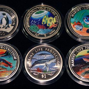 Set of 6 Color Coins Marine Life Protection - Lot von 6 Farbmünzen Somalia, Maldives, Ghana, Malta, Namibia, Somali