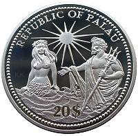 Palau Marine Life Protection 20$ ? Silver Color Coin Nautilius Neptune Mermaid