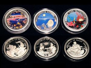 Lot von 3 Palau Farbmünzen 5 Dollars Silber - Set of 3 Palau Color Coins 5$ Silver - Marine Life Protection