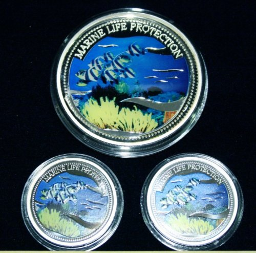 Marine Life Protection 20 Dollars 2005 Meerjungfrau mit Delfin- Wimpelfische, Mermaid & Dolphin - School of Angelfish Silber Silver #005