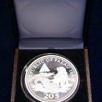 Meerjungfrau / Nixe mit Segelboot - Meeresleben I Farbige Meeresfaune Mermaid & Sailboat - Year Of Marine Life Protection 20 Dollars Silber Silver 999 #007
