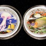 Lot von 4 Palau Farbmünzen 5 Dollars Silber 2001 - Set of 4 Palau Color Coins 5$ Silver - Marine Life Protection