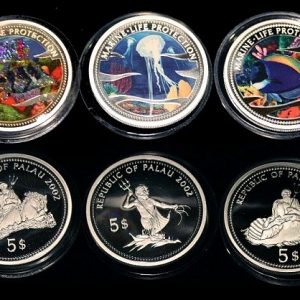 Lot von 3 Palau Farbmünzen 5 Dollars Silber 2001 - Set of 3 Palau Color Coins 5$ Silver - Marine Life Protection