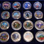 "Farbmünzen Sammlermünzen ""Meeresschutz"" Palau, Komplette Serie von 1992 bis 2009, 45 Stück 1$ Münzen Color coins Collectibles ""Marine Life Protection"" Palau, complete set freom 1992 until 2009, 45 Piece of 1$ Coins"