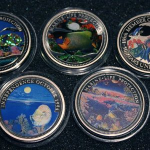Gelber Anemonenfisch Schmetterlingsfisch Glittering Fish Blue Gilled Angelfish 2003 2001 Palau Marine Life Protection 1$ Münzen Color Coins