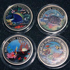 2002 1998 Doktorfisch Blue Surgeon Fish Wasserschildkröte Seaturtle Marine Life Protection Palau 1$ Coins Farbmünzen