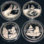 2002 Marine Life Protection Palau 1 Dollar Color Coin Meerjungfrau  - Doktorfisch - Mermaid - Blue Surgeon Fish