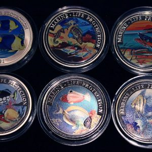 Set of 6 Color Coins Marine Life Protection - Lot von 6 Farbmünzen, Niue, Malta, Congo & Liberia