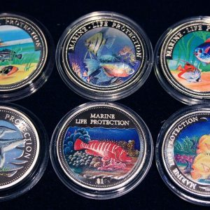Set of 6 Color Coins Marine Life Protection - Lot von 6 Farbmünzen, Somali, Liberia, Namibia, Cook & Solomon Islands