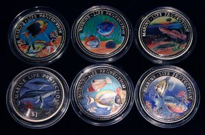 Set of 6 Color Coins Marine Life Protection - Lot von 6 Farbmünzen, Gambia, Ghana, Somali, Namibia & Liberia
