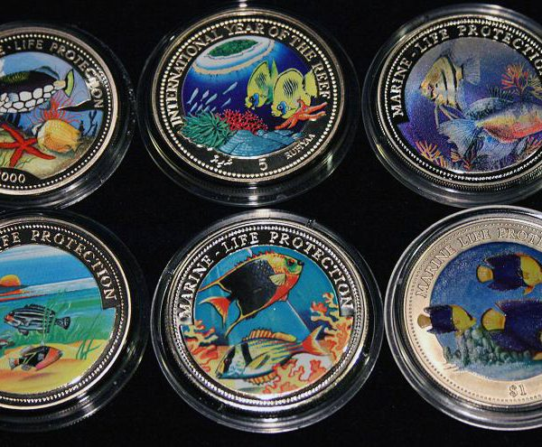 Set of 6 Color Coins Marine Life Protection - Lot von 6 Farbmünzen, Congo, Maldives, Liberia, Somali, Gambia & Niue