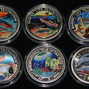 Set of 6 Color Coins Marine Life Protection - Lot von 6 Farbmünzen Malta, Somali, Liberia, Maldives & Namibia