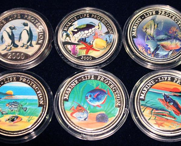 Set of 6 Color Coins Marine Life Protection - Lot von 6 Farbmünzen Somalia, Congo, Liberia, Somali, Ghana, Malta