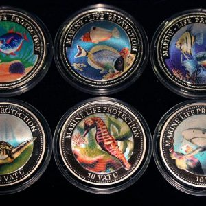 Set of 6 Color Coins Marine Life Protection - Lot von 6 Farbmünzen Ghana, Liberia, Vanuatu